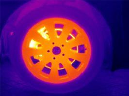红外热像仪进行刹车片温度检测