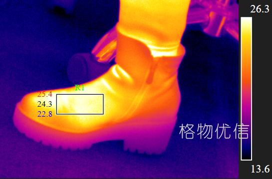 红外热像仪用于检测鞋子的透气性