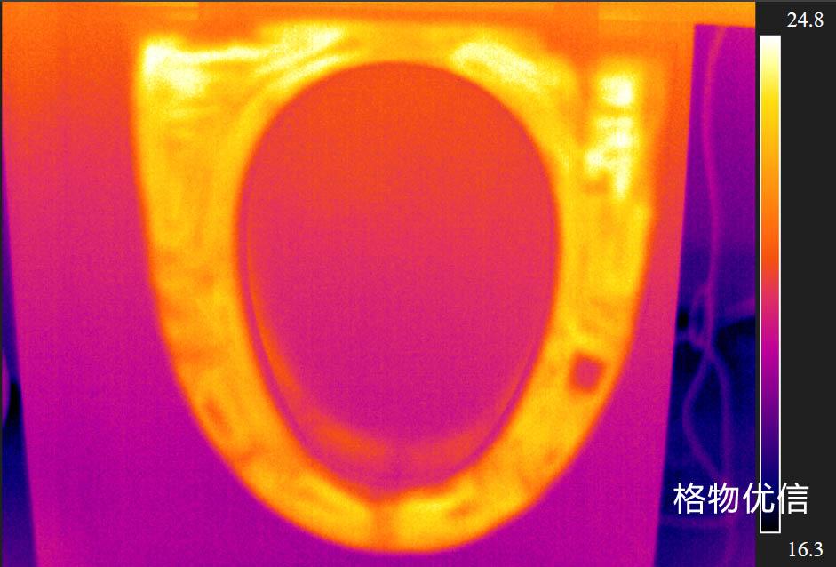 红外热像仪用于马桶便圈加热均匀性检测