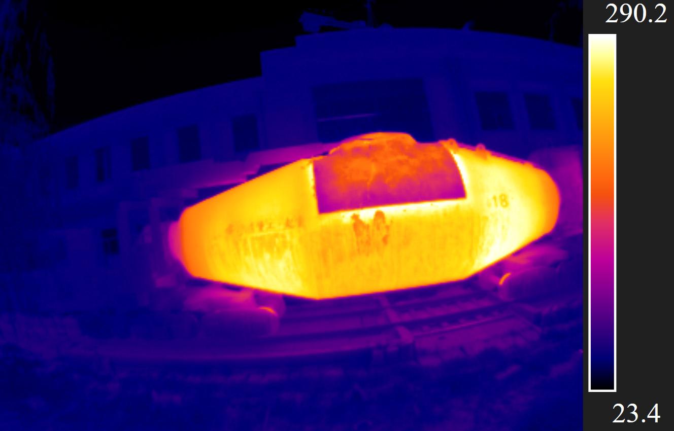 红外热像仪检测鱼雷罐车